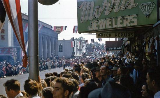 1954 National Peanut Festival Parade Crowd Foster Street, photo by Judy Tatom