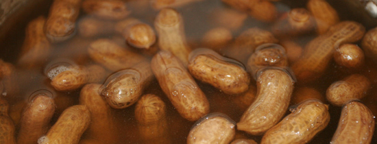 boiled peanuts in a pot