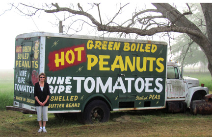 hot green boiled peanuts, vine ripe tomatoes, shelled butter beans, shelled peas, green truck, gretchen